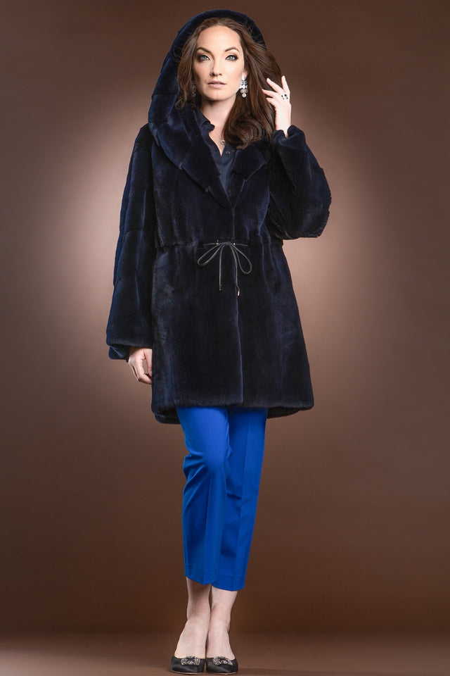 Hooded Plucked Mink Mid-Length Fur Anorak