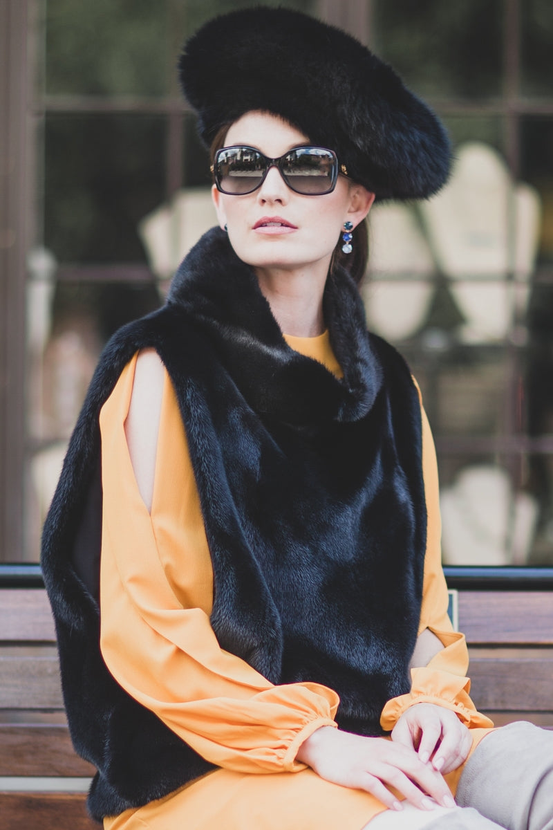 Black Lenore Marshall Perforated Fox Fur Hat