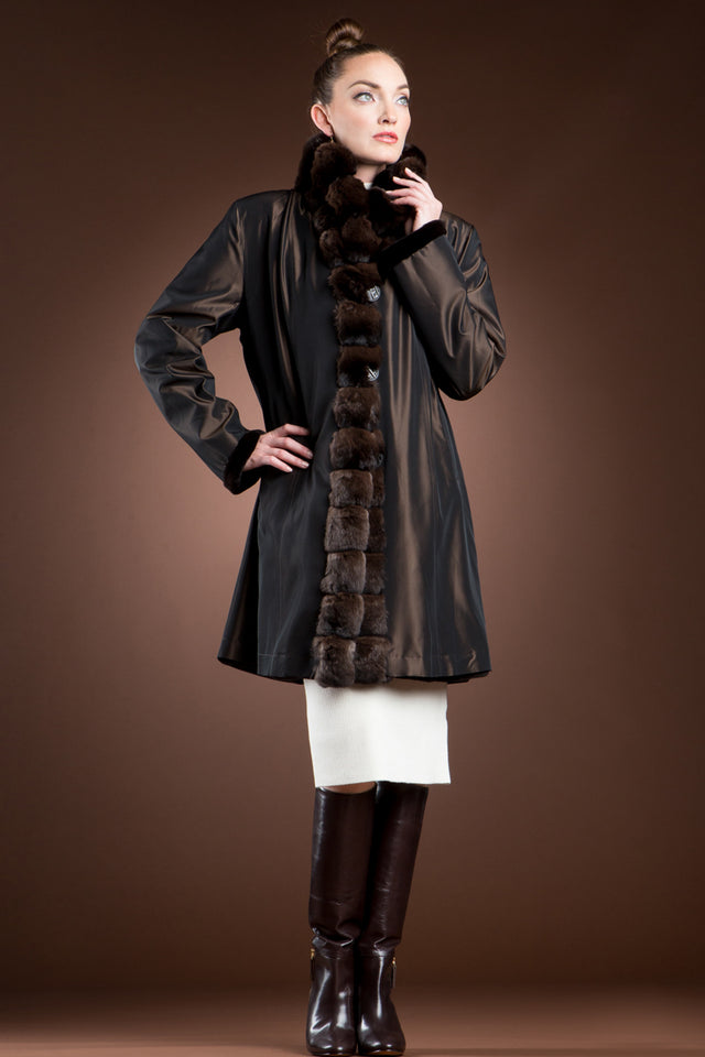 Reversible Brown Sheared Mink and Chinchilla Fitted Mid-Length Fur Coat