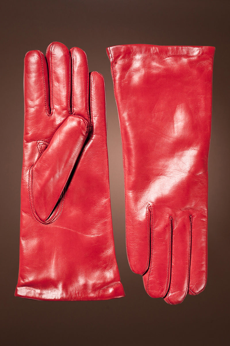 Red Hestra Women's Hairsheep Leather Pique 3 Btn Cashmere Lined Gloves