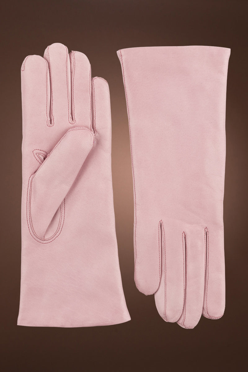 Pink Hestra Women's Hairsheep Leather Pique 3 Btn Cashmere Lined Gloves
