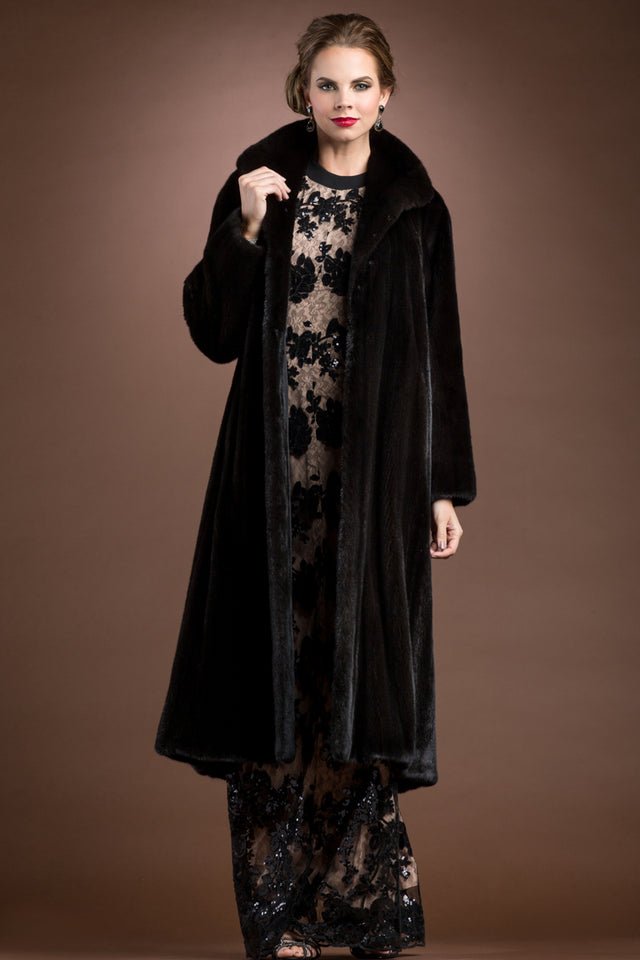 Natural Mink Fur Coat - Wing Collar - Straight Sleeve