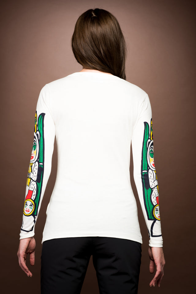 White Dove Long Sleeve Tee-Totem Print Sleeve