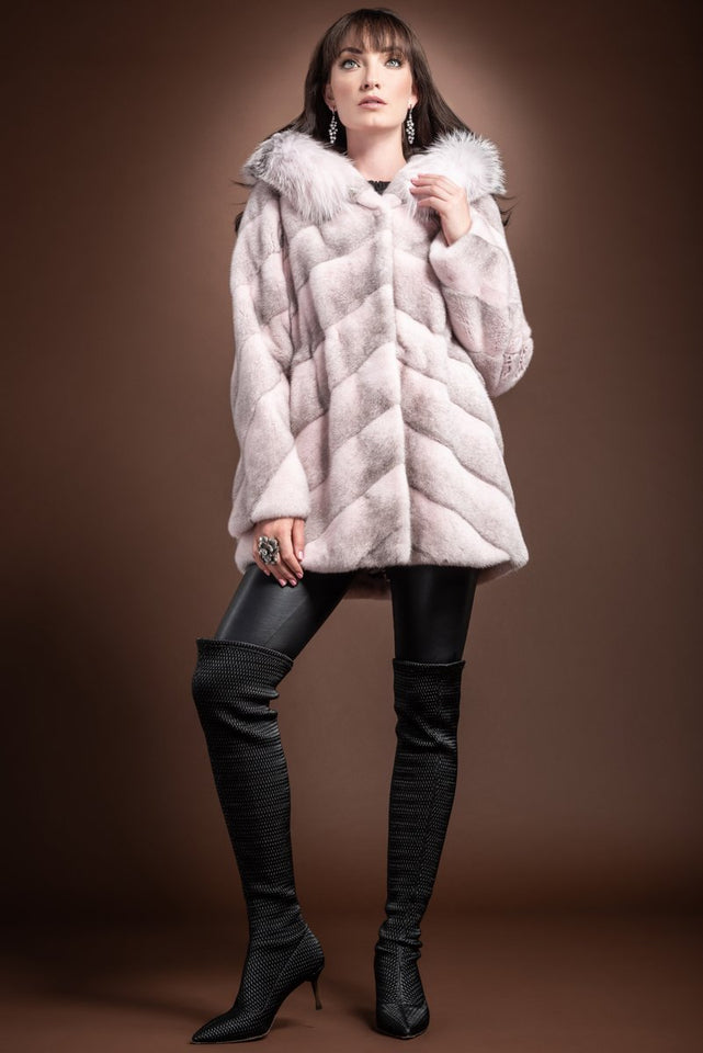 EM-EL Hooded Diagonal Light Pink Cross Mink and Fox Fur Jacket