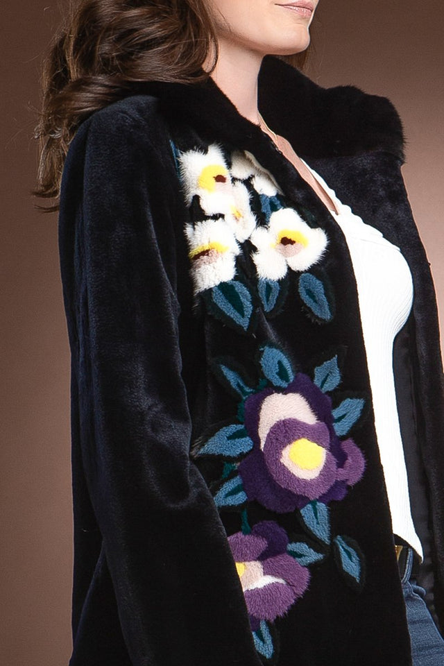 Navy Floral Sheared Mink Fur Jacket