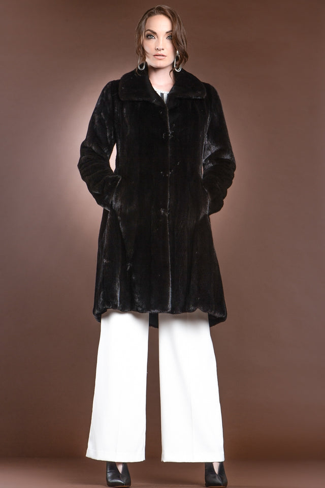 Natural Mid-Length Mink Fur Coat - Wing Collar - Straight Sleeve