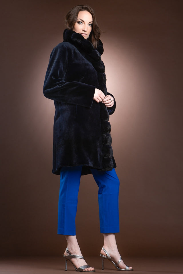 NavyBlue Reversible Sheared Fitted Mid Length Chinchilla and Mink Fur Coat