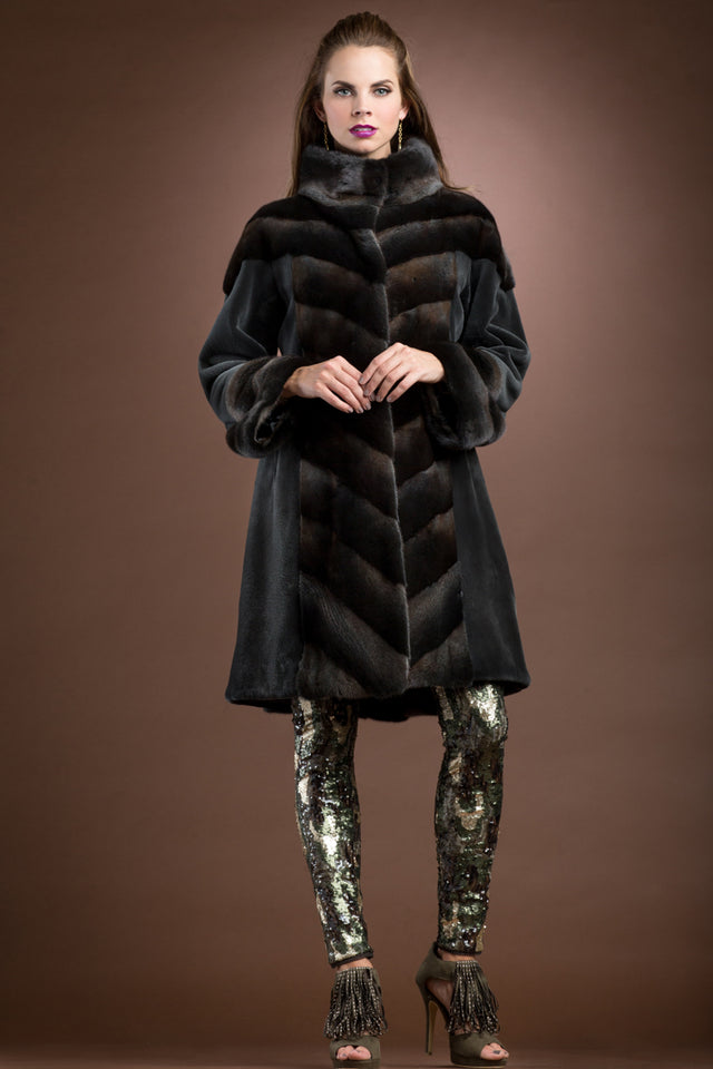 Anamoda Directional Dyed Sheared and Cross Mink Mid-Length Fur Coat