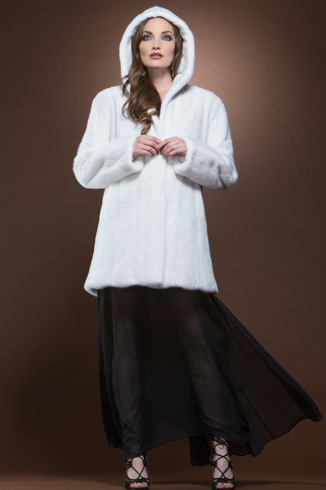 Hooded White Mink Mid-Length Fur Coat