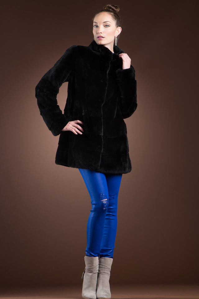 Black Plucked Mink Fur Jacket