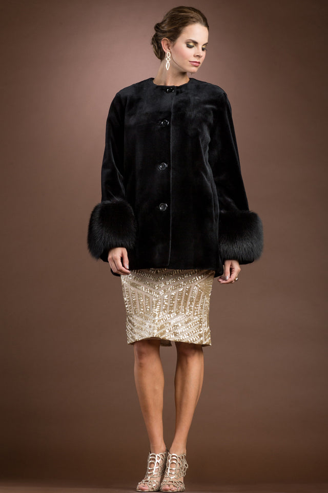 Sheared Mink Fur Jacket with Fox Trim