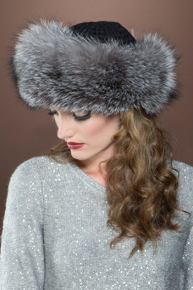 Cashmere Knit and Fox Fur Brim Hat