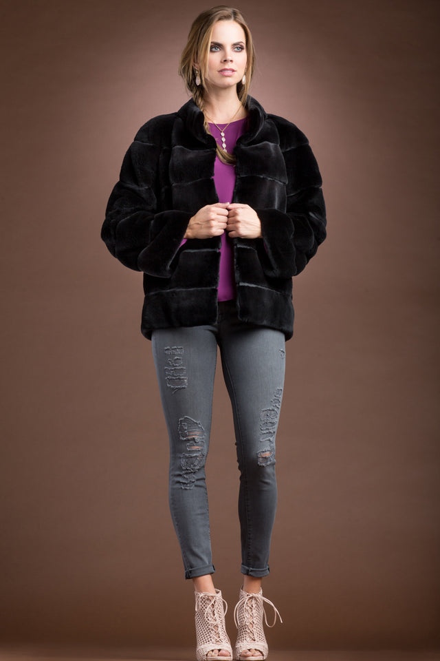 Zandra Rhodes Black Plucked Mink Zippered Fur Jacket