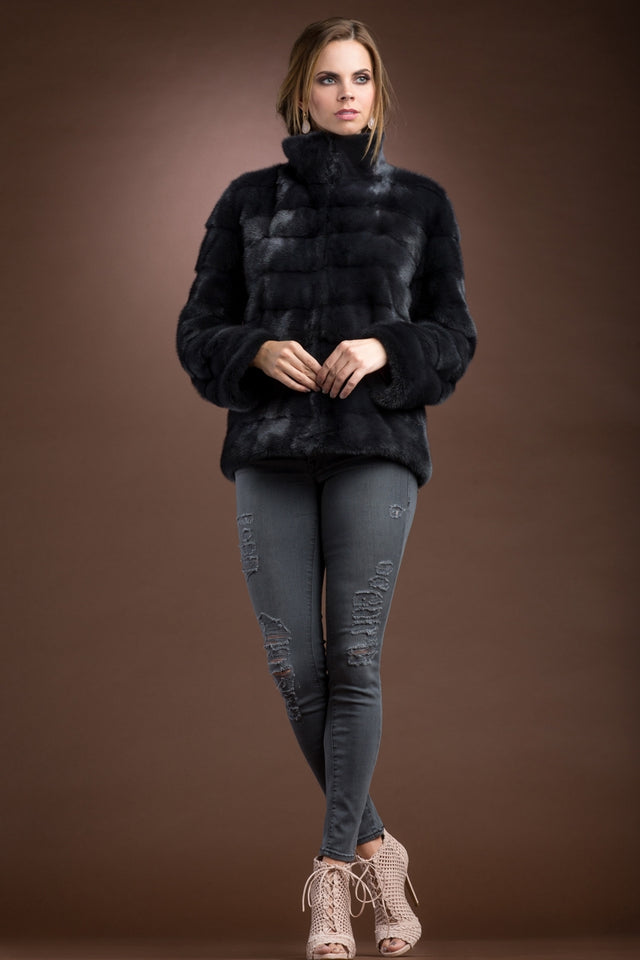 Zip Up Horizontal Slate Mink Fur Jacket