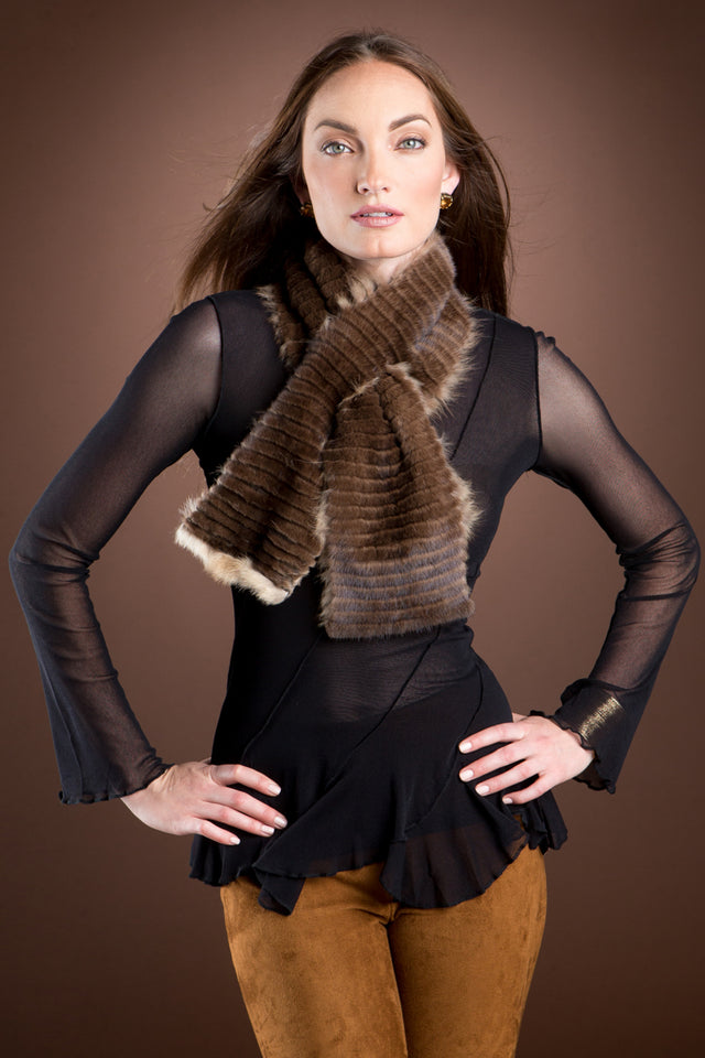 Brown EM-EL Russian Sable & Mink Double Fur Pull-Through Scarf