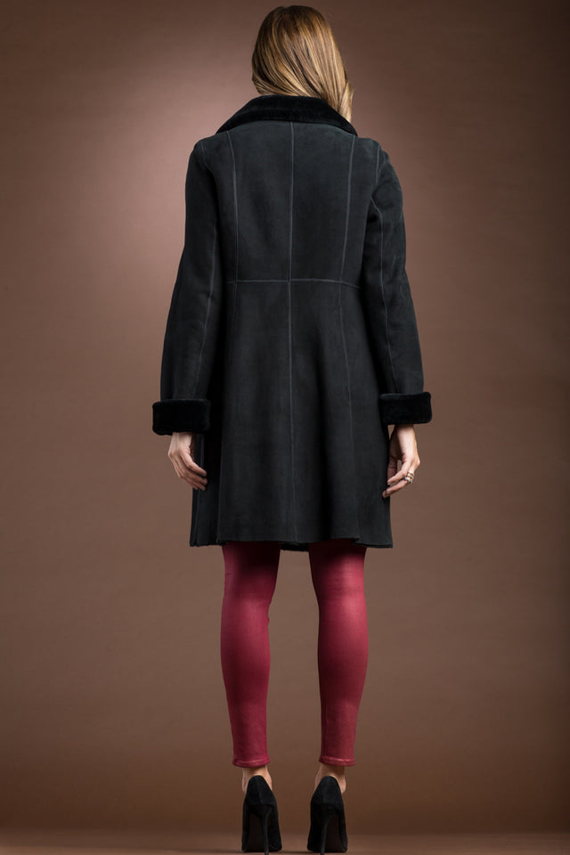 EM-EL Spanish Noir Reversible Mid-Length Shearling Coat
