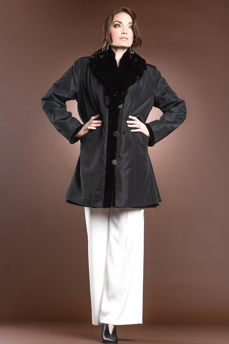 Black EM-EL Reversible Fitted Sheared Mink Mid-Length Fur Coat - Chinchilla Shawl Collar