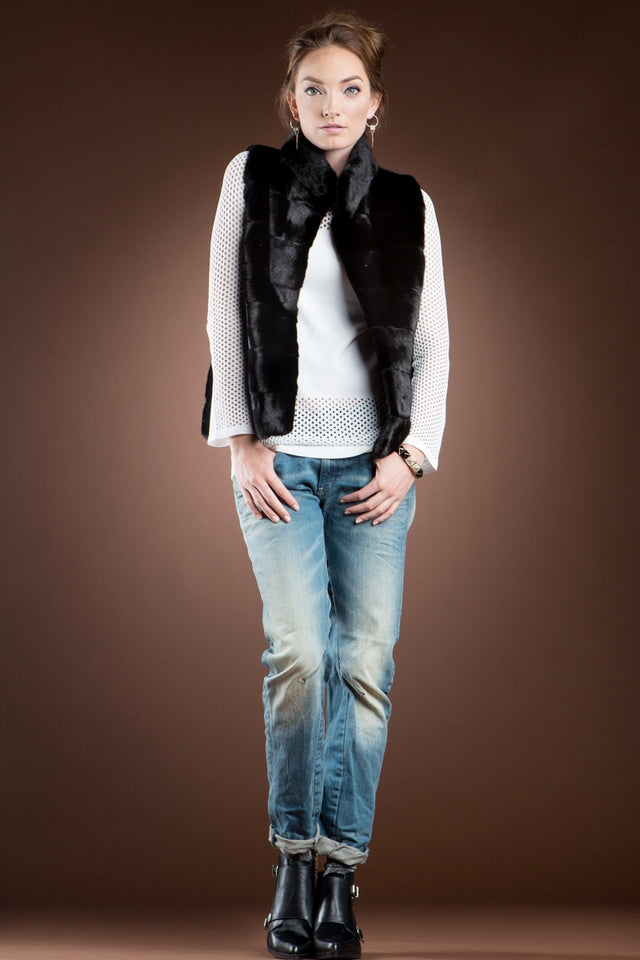 EM-EL Blackglama Horizontal Mink Fur Vest - Stand-Up Collar