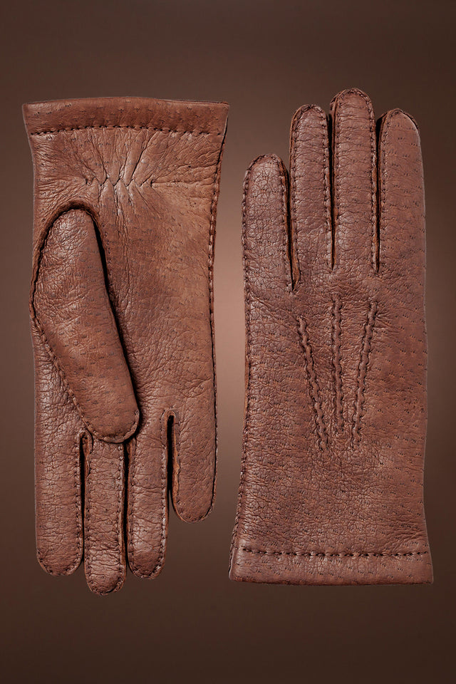 Brown Hestra Men's Peccary Handsewn Cashmere Lined Gloves