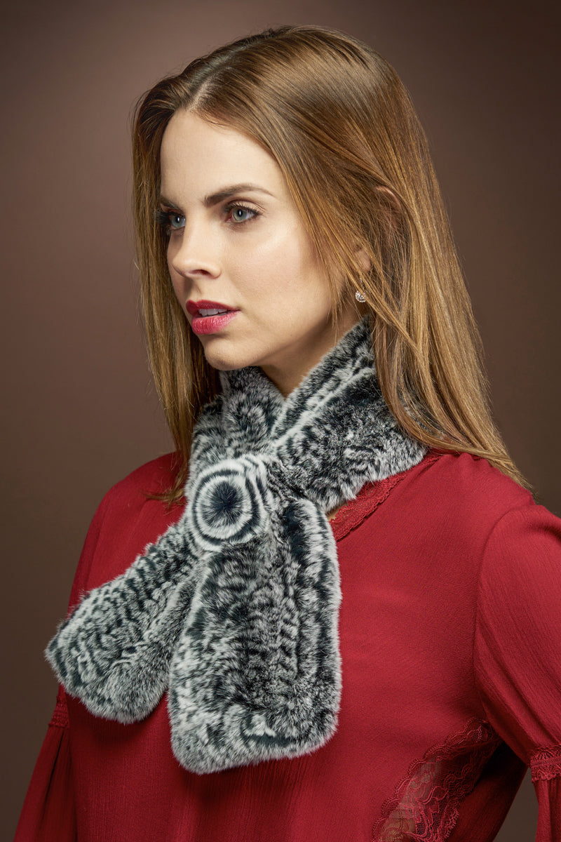 gray EM-EL Knitted Rex Rabbit Pull-Though Scarves