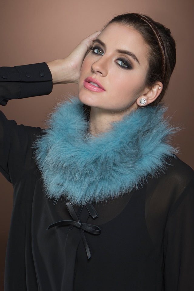 BabyBlue EM-EL Fox Belly Tricot Fur Collar