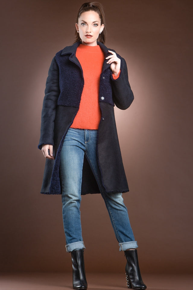 EM-EL Navy Blue Double Faced Mid-Length Shearling Coat
