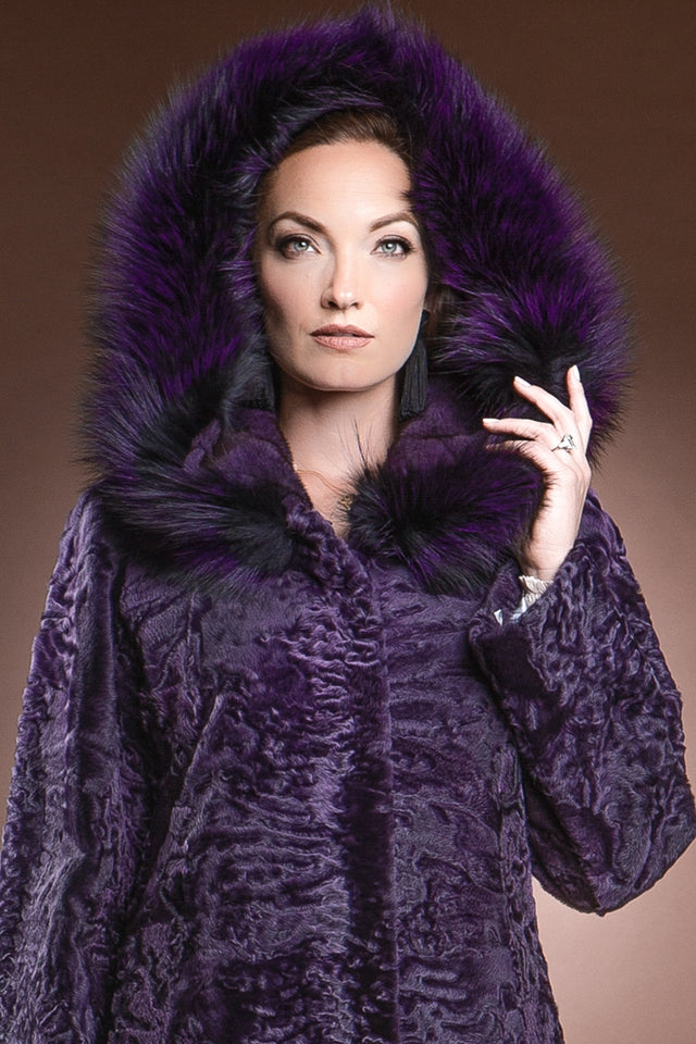 Hooded Purple Karakul Mid-Length Fur Coat - Purple Fox Trim
