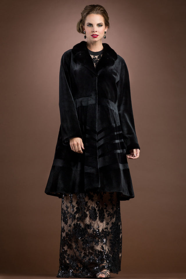 Sheared & Long Haired Mink Mid-Length Fur Coat