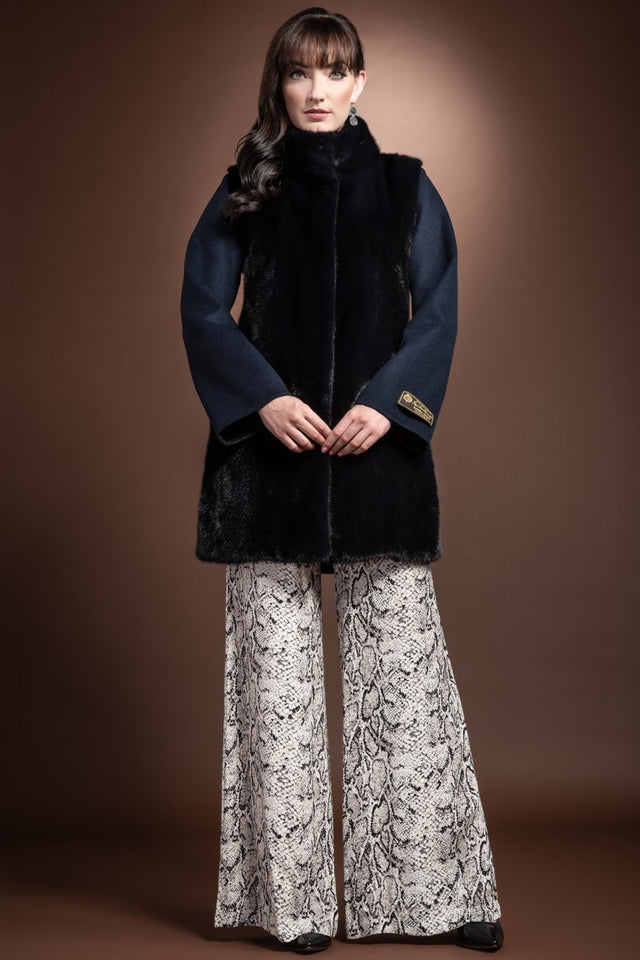 Front Mink Fur Panel and Collar Mid Length Cashmere Coat