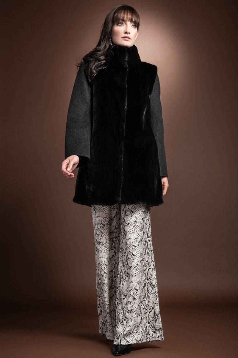 Charcoal Loro Piana Front  Mink Fur Panel and Colllar Mid Length Cashmere Coat