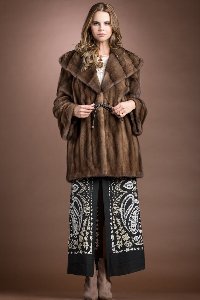 Zandra Rhodes Hooded Demi-Buff Mink Mid-Length Fur Anorak