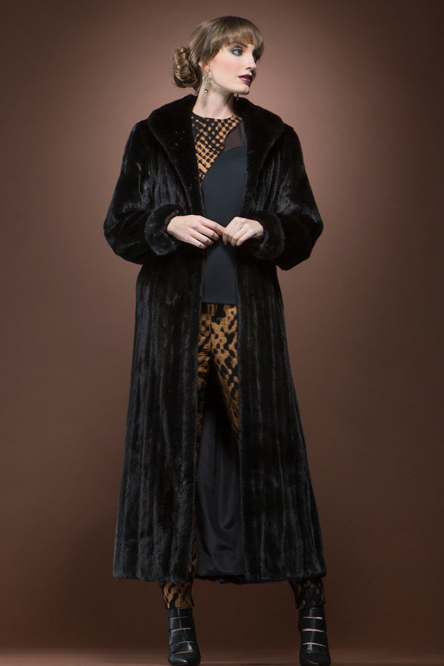 Black Platinum Ranch Mink Fur Coat