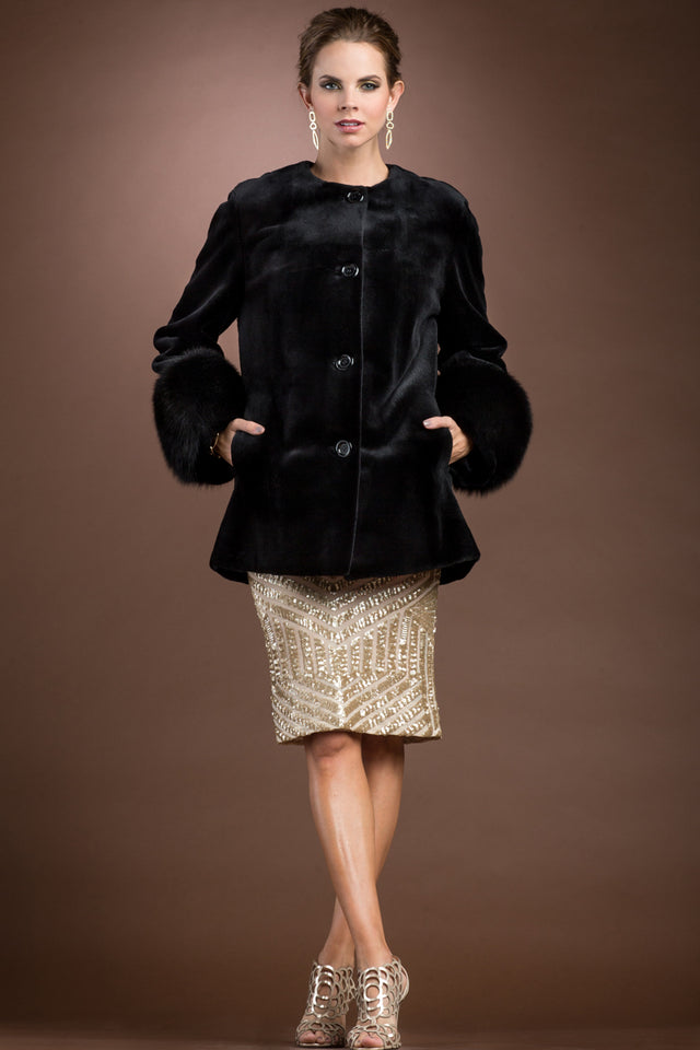 Zandra Rhodes Sheared Mink Fur Jacket with Fox Trim