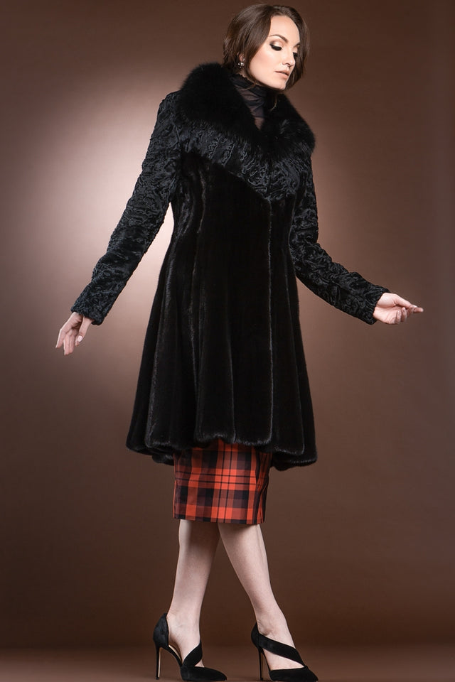 Mink, Lamb, & Sable Mid-Length Swing Fur Coat