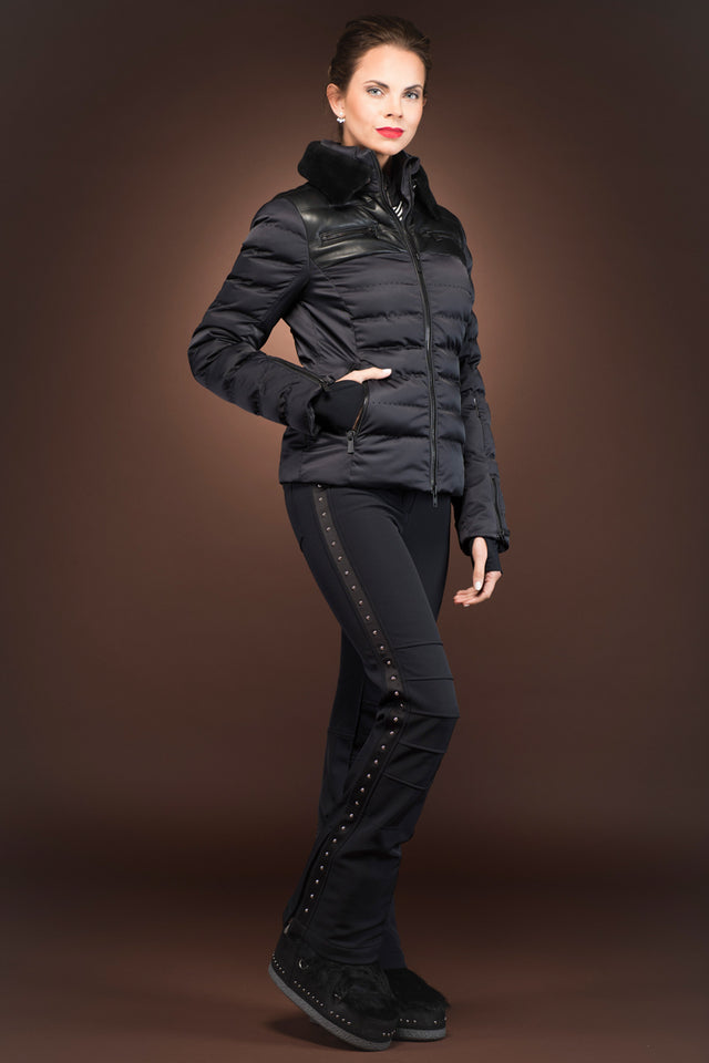 Rhea Ski Jacket with Leather Panels and Fur Collar