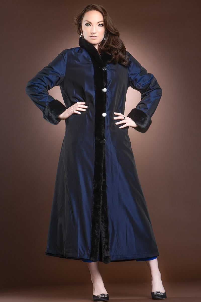 NavyBlue EM-EL Reversible Sheared and Long Haired Mink Fur Coat
