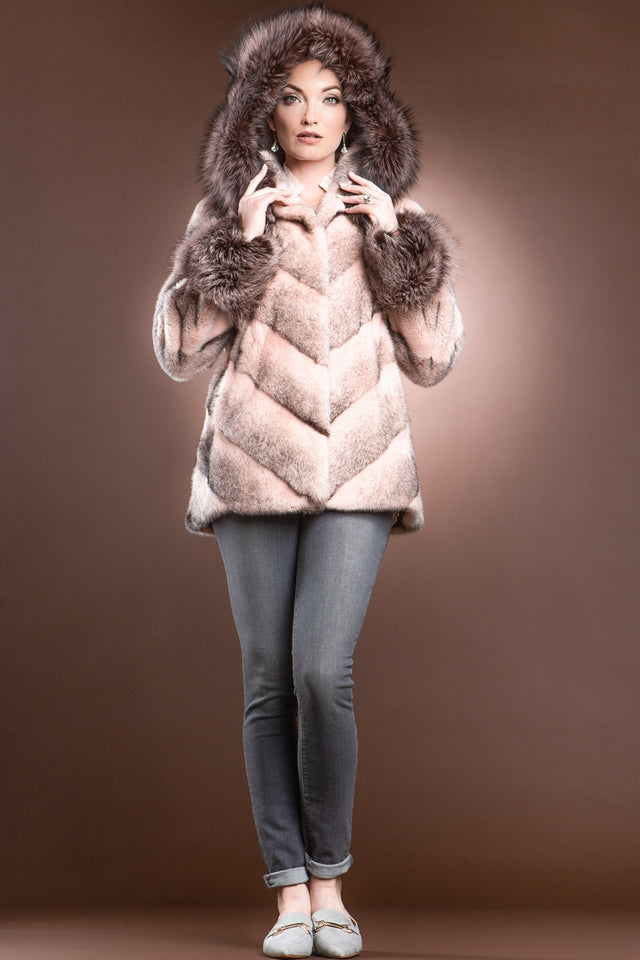 Hooded Directional Chevron Mink Fur Jacket - Fox Fur Hood Trim and Cuffs