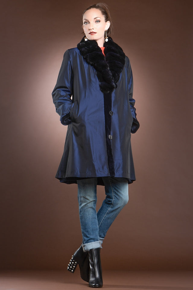 EM-EL Reversible Fitted Navy Blue Sheared Mink Mid-Length Fur Coat - Chinchilla Shawl Collar