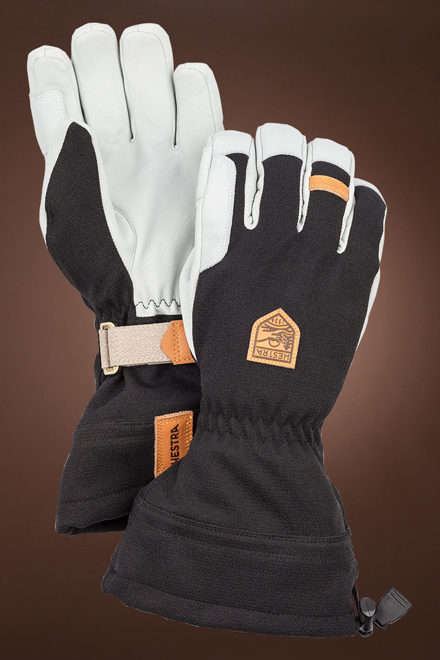 Black Hestra Men's Army Leather Patrol Gauntlet Ski Gloves
