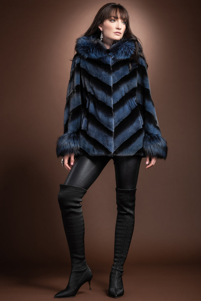 Blue Hooded Directional Chevron Mink Fur Jacket - Fox Fur Hood Trim and Cuffs