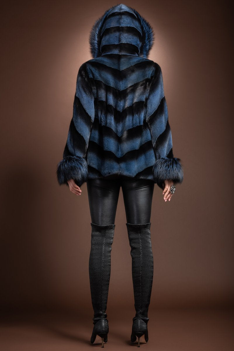 DenimBlue Hooded Directional Chevron Mink Fur Jacket - Fox Fur Hood Trim and Cuffs