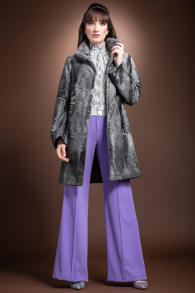 EM-EL Blue Iris Mink Trimmed Straight Gray Russian Mid Length Broadtail Fur Coat