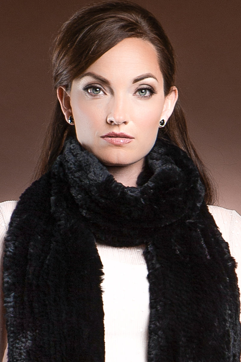 black EM-EL Rex Rabbit Knitted Poche Scarf with Pockets