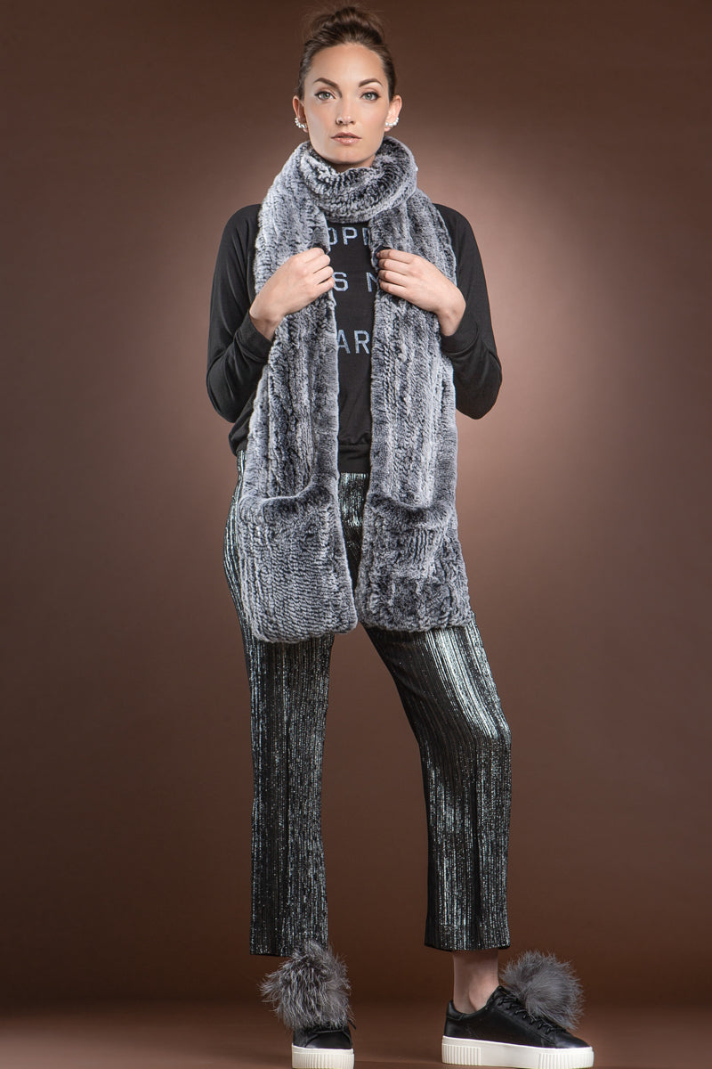 gray EM-EL Rex Rabbit Knitted Poche Scarf with Pockets