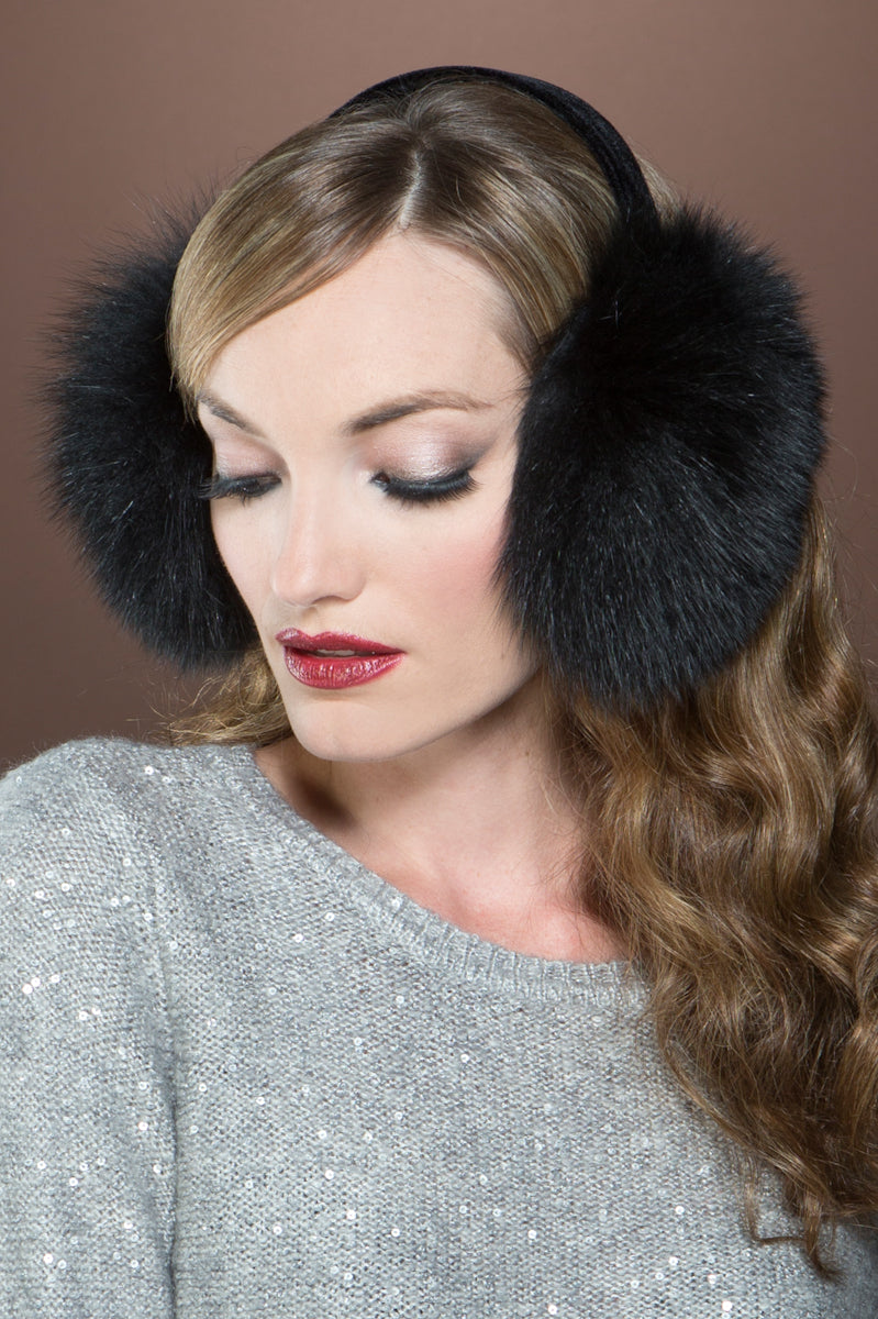 Black EM-EL Fox Fur Earmuffs