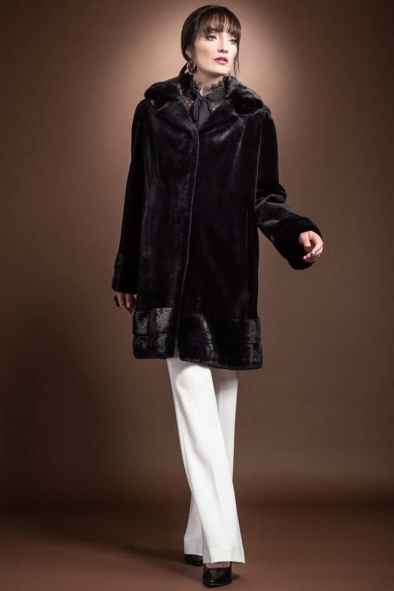 Black EM-EL Detachable Hooded Mid Length Sheared Mink Fur Coat - Long Haired Mink Horizontal Hem - Trim