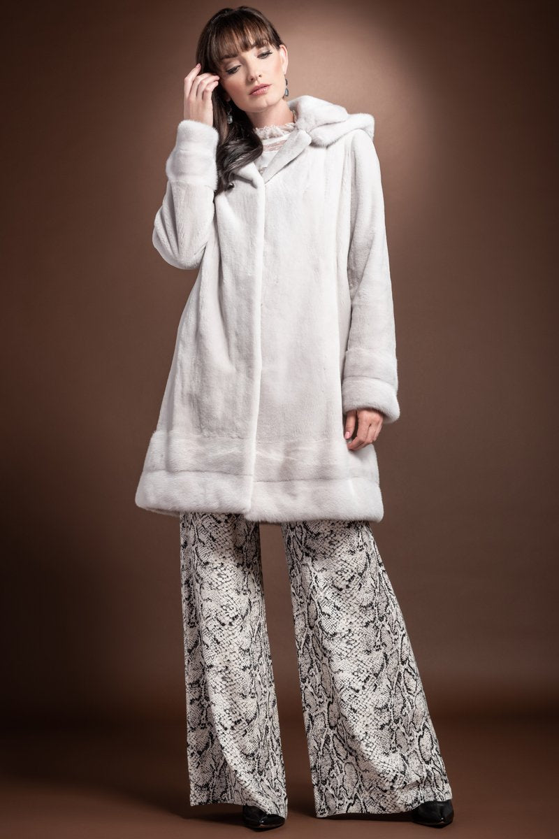 Violetine EM-EL Detachable Hooded Mid Length Sheared Mink Fur Coat - Long Haired Mink Horizontal Hem - Trim