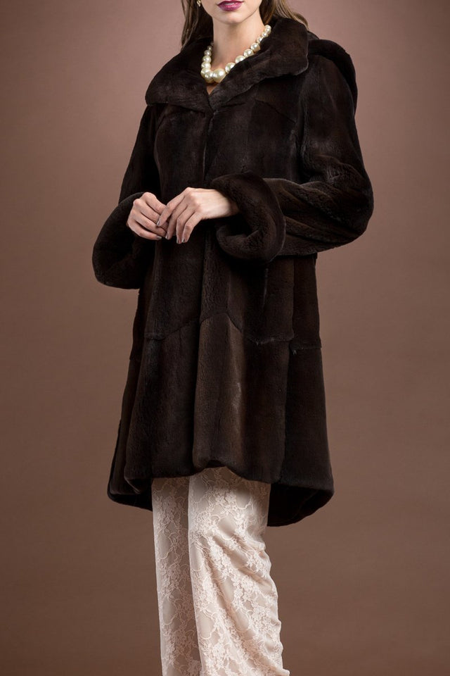 Detachable Hooded Matara Plucked Mink Mid-Length Fur Coat