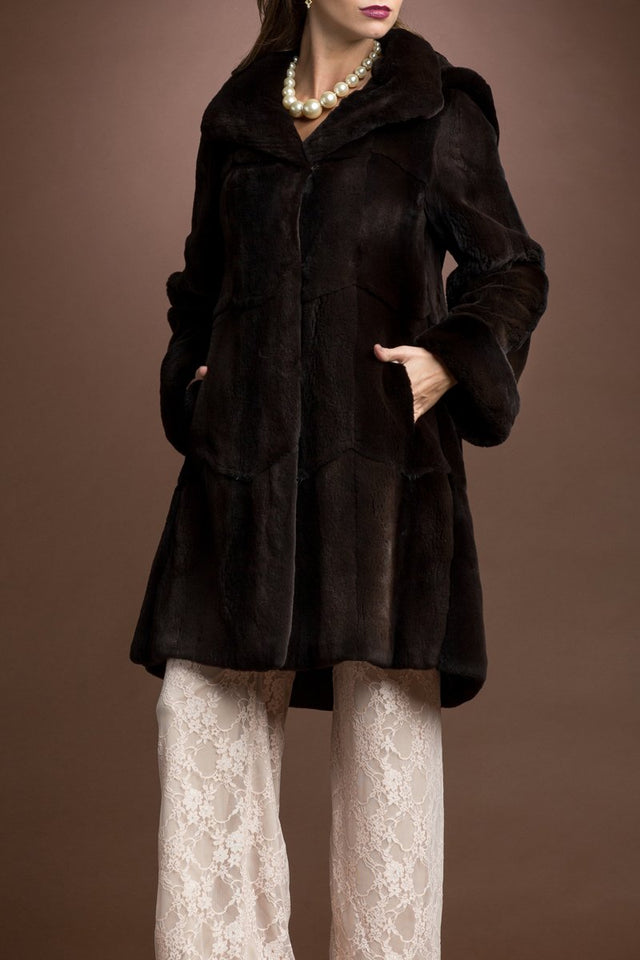 Detachable Hooded Matara Plucked Mid Length Mink Fur Coat