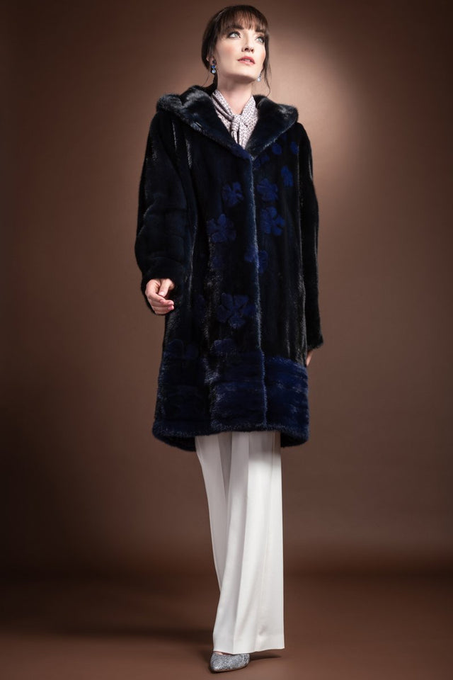 Hooded Two Blue Horizontal Hem and Daisy Mid Length Mink Fur Coat